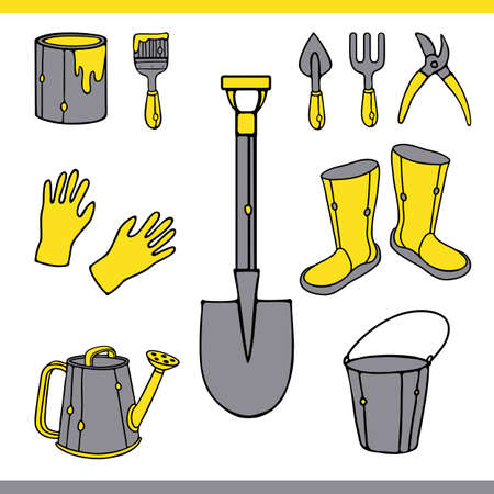 Vector Collection of Gardening Tools. Garden Equipment Tools Set. Watering can, rubber boots, gloves, bucket, pruner, shovel, paint can, brush, and more. Isolated on white background