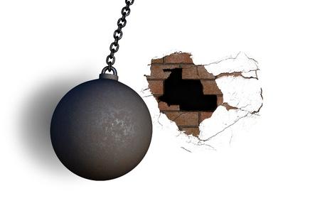 wrecking ball hitting wall