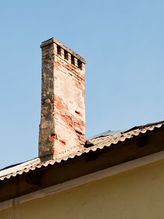 old chimney on the roof