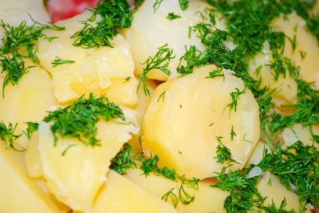 Hot and tasty boiled potatoes with green dill