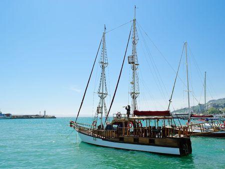 sailboat on the waterfront promenade at Yalta