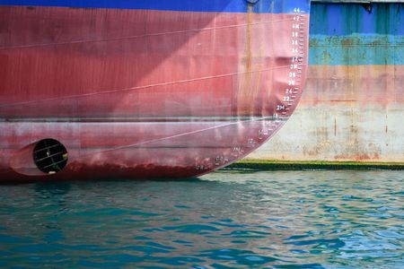 prow of a ship showing water depth markings Stock Photo