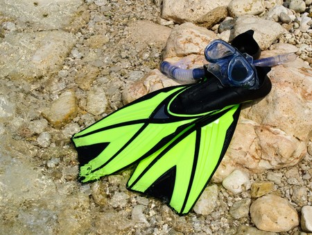 scuba snorkeling green diving set at seaside Stock Photo