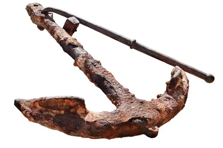 old rusty anchor isolated on white background photo