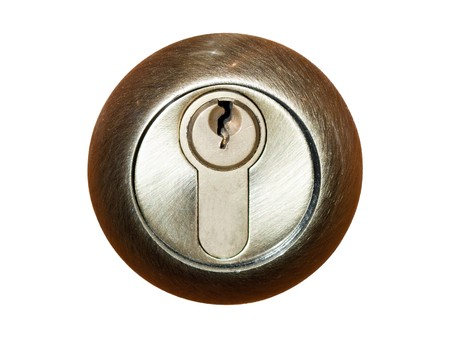 bronze styled keyhole isolated on white background Stock Photo