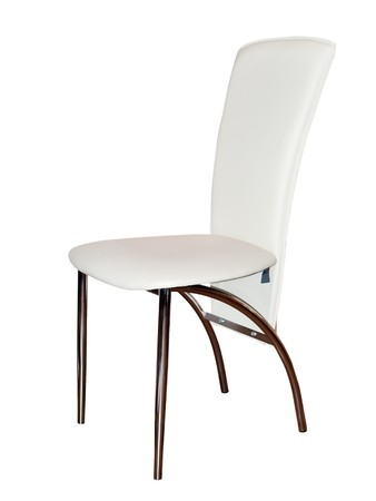 beige leather steel chair isolated on white background Stock Photo - 7437931