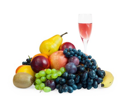 a lot of fruit and a glass of rose wine isolated on white Stock Photo