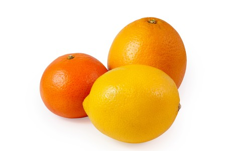 lemon, mandarin and orange isolated on white background