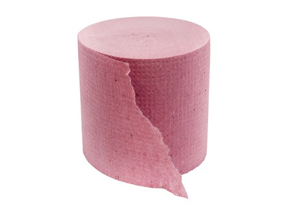 roll of pink toilet paper isolated on white background