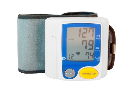 modern digital blood pressure measurement equipment on a white background