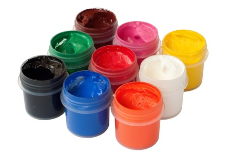 Jars with colored gouache Stock Photo