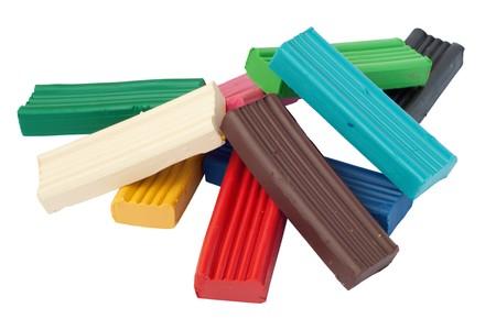 Heap of colored plasticine bricks.  Stock Photo