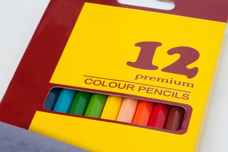 Pack with twelve premium color pencils on white Stock Photo