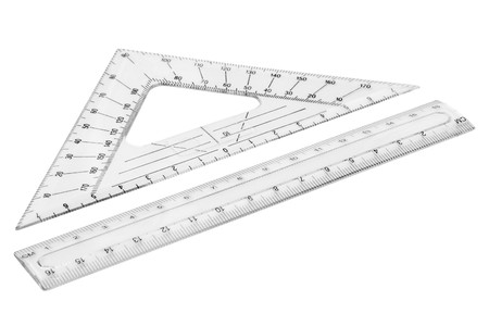 Set of plastic transparent rulers.  Stock Photo