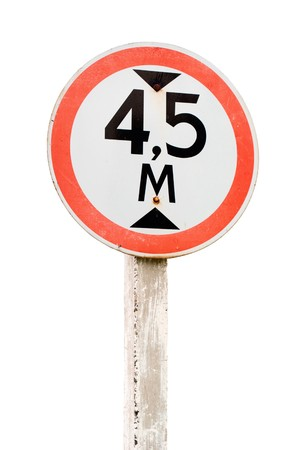 Road sign. Height limit. Isolated on white background  Stock Photo