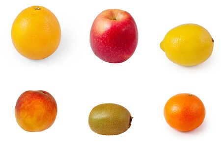 ripe fruits isolated on a white background