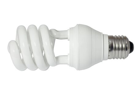 Energy saving fluorescent light bulb (CFL).  Stock Photo