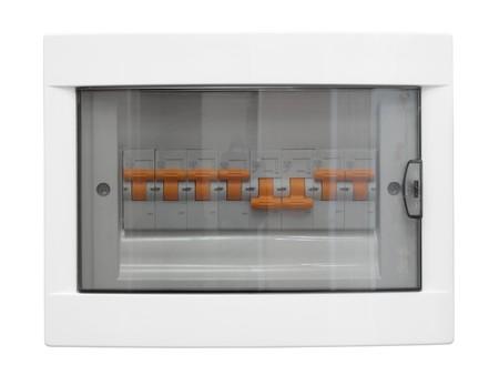 meter box: Cuadro de distribuci�n de electricidad. Fusebox cerrado. Aislados en fondo blanco