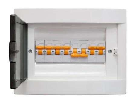 tablero de control: Cuadro de distribuci�n de electricidad. Fusebox. Aislados en fondo blanco  Foto de archivo