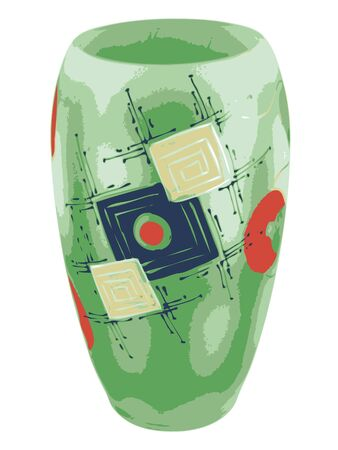 Decorative green vase with abstract ornament.