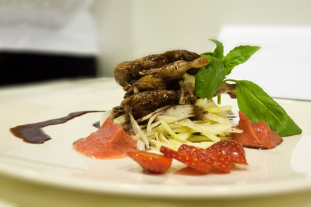 quail with chocolate sauce with strawberries and ice-cream  Stock Photo
