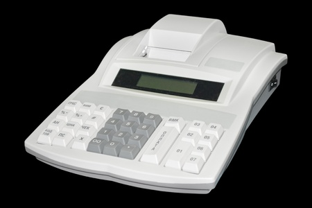 Cash register. Isolated on black background with clipping path.  Stock Photo