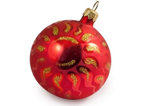 Red christmas ball with sun.