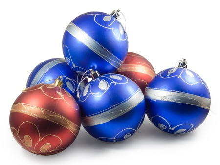 Six christmas balls, red and blue. Stock Photo