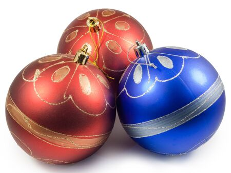 Three christmas balls, red and blue.