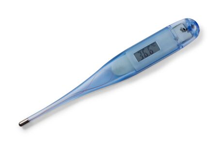 Medical digital thermometer. On display 36,6 celsius. Isolated on white background