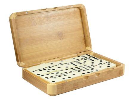 Bamboo box with domino  Stock Photo