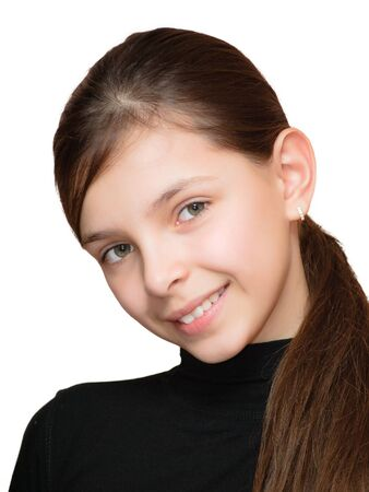 Smiling teen girl. Isolated in white background.