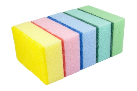 Five multi-colored kitchen sponges. Isolated on white background.