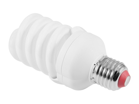 Energy saving fluorescent light bulb (CFL E27 socket).