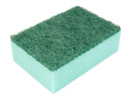 Green kitchen sponge. Isolated on white background.  photo