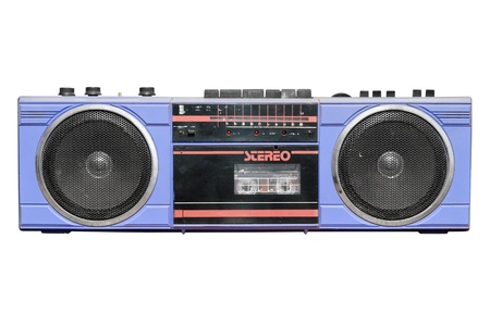 stereo cut: Old vintage stereo cassetteradio recorder.