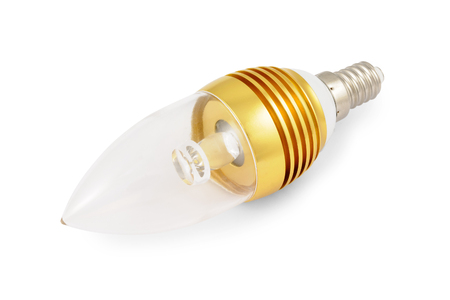 Energy saving High power LED light bulb (E14). Isolated on white background with clipping path.