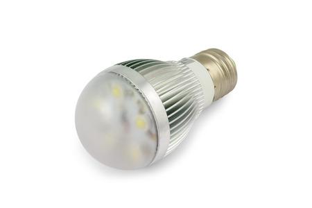 e27: Energy saving High power LED light bulb E27. Stock Photo