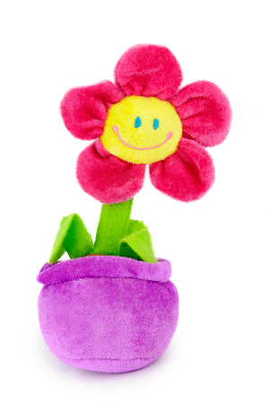 Soft plush toy flower in the pot.