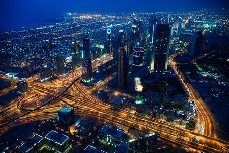Dubai stad 's avonds Uitzicht vanaf Dubai Stockfoto