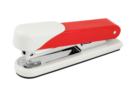 High quality red stapler. Isolated on white background with clipping path.