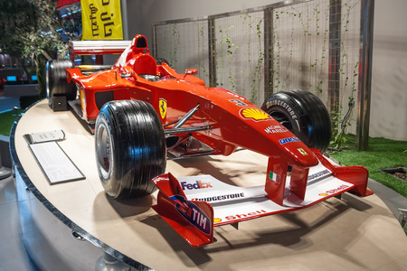 Ferrari formula one car on the podium  Ferrari World park Yas island Abu-Dhabi UAE  Editorial