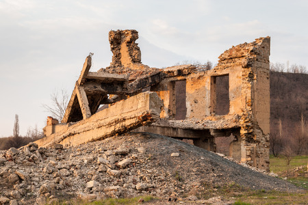 The ruins of the destroyed building in the Makeevka Donetsk region