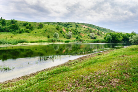 Peaceful riverside of the Seversky Donets River near the village of Zakotnoe around Slovyansk in the Donetsk region, Ukraine