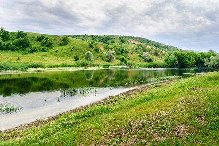 Peaceful riverside of the Seversky Donets River near the village of Zakotnoe around Slovyansk in the Donetsk region, Ukraine