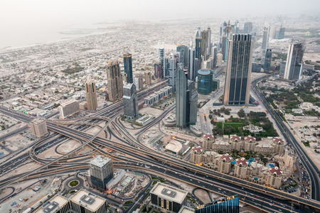 Dubai International Financial Centre  Aerial view from 124th floor