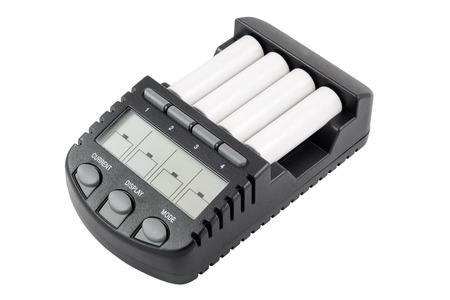 nimh: Intelligent accumulator battery charger with AA size batteries  Isolated on white backgroungd with clipping path