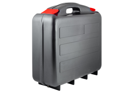 Plastic black toolcase with red tabs  Isolated on white background with clipping path  版權商用圖片