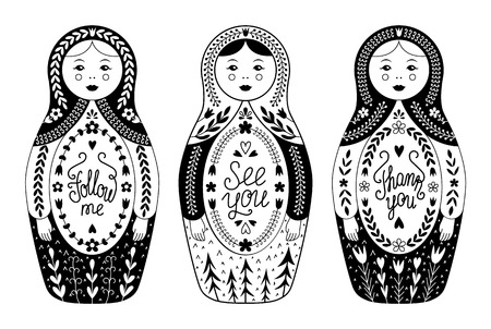 Russian traditional nested doll set.