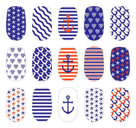 Nail art maritieme stijl sjablonen. Manicure ontwerp set. Kan gebruikt worden voor valse nagel tips en stickers. Geïsoleerd op wit.